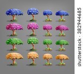 set of fairytale trees. vector...
