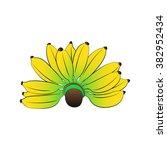 vector cartoon banana on white... | Shutterstock .eps vector #382952434