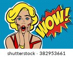 pop art surprised blond woman... | Shutterstock . vector #382953661