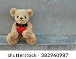 bear hold red heart. | Shutterstock . vector #382960987