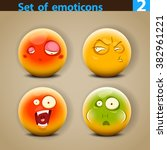 vector set of smiley faces with ... | Shutterstock .eps vector #382961221