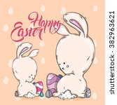 easter card  cute bunny with... | Shutterstock .eps vector #382963621