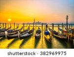Gondolas In Venice   With San...