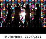 dancing people silhouettes. | Shutterstock .eps vector #382971691
