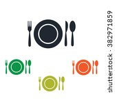 plate with flatware icon   Shutterstock .eps vector #382971859