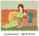 the young mother and daughter...   Shutterstock .eps vector #382979341
