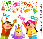 happy kids celebrating purim... | Shutterstock . vector #382985689