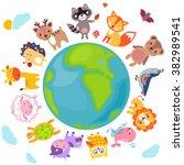 cute animals walking around... | Shutterstock . vector #382989541