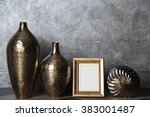 home decor on grey wall... | Shutterstock . vector #383001487