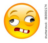 crazy drunk emoticon. smile... | Shutterstock .eps vector #383002174