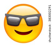 emoticon with sun glasses.... | Shutterstock .eps vector #383002291