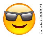 emoticon with sun glasses....   Shutterstock .eps vector #383002291