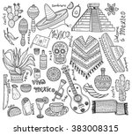 big set of mexico related hand... | Shutterstock .eps vector #383008315
