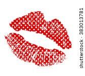polka dot lipstick kiss on... | Shutterstock .eps vector #383013781