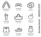Fitness And Gym Line Art Icon...