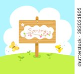 spring wooden sign with...   Shutterstock .eps vector #383031805