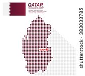 dot style of qatari map and... | Shutterstock .eps vector #383033785