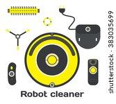 robotic vacuum cleaner flat...   Shutterstock .eps vector #383035699