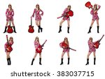 woman guitar player isolated on ... | Shutterstock . vector #383037715