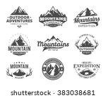 Stock vector set of vector mountain and outdoor adventures logo tourism hiking and camping labels mountains 383038681