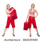 travelling woman with suitcase... | Shutterstock . vector #383039485