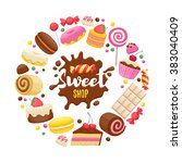 assorted sweets colorful... | Shutterstock .eps vector #383040409
