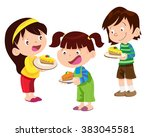 vector of children have a cake... | Shutterstock .eps vector #383045581