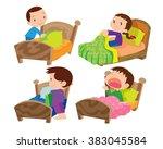 vector of children and bed on... | Shutterstock .eps vector #383045584