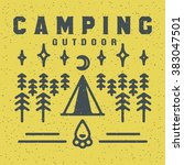 brochure camping outdoor ... | Shutterstock .eps vector #383047501
