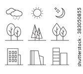 linear landscape elements icons ... | Shutterstock . vector #383050855