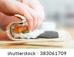 preparing  rolling sushi.... | Shutterstock . vector #383061709