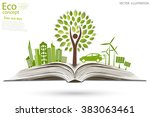 environmentally friendly world. ... | Shutterstock .eps vector #383063461