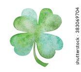 green clover watercolor hand... | Shutterstock . vector #383069704
