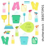 cute vivid spring cleaning... | Shutterstock .eps vector #383073901