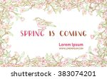 spring is coming card. spring... | Shutterstock .eps vector #383074201