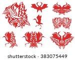 tribal red stork symbols. set...