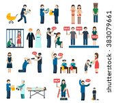 human trafficking flat icons set | Shutterstock . vector #383079661
