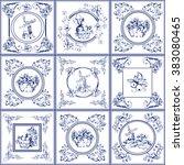 famous delft blue tiles icons... | Shutterstock . vector #383080465