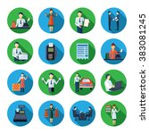 salesman flat round icons set | Shutterstock . vector #383081245