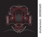 hot rod. retro car. pinstripes. ... | Shutterstock .eps vector #383082685