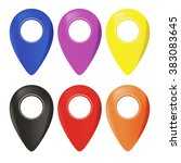 vector set of map marker icons | Shutterstock .eps vector #383083645