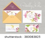 set of wedding invitations card ... | Shutterstock .eps vector #383083825