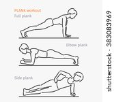 plank workout. woman making... | Shutterstock .eps vector #383083969