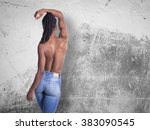 young african girl with naked... | Shutterstock . vector #383090545