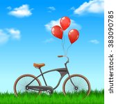bicycle with balloons | Shutterstock . vector #383090785