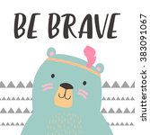 illustration of cute bear with... | Shutterstock .eps vector #383091067