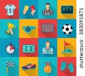 soccer flat icons set | Shutterstock . vector #383091871