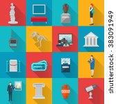 museum icons flat set | Shutterstock . vector #383091949