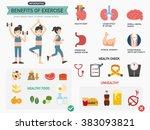 benefits of exercise... | Shutterstock .eps vector #383093821