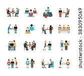coworking space icons set | Shutterstock . vector #383095069